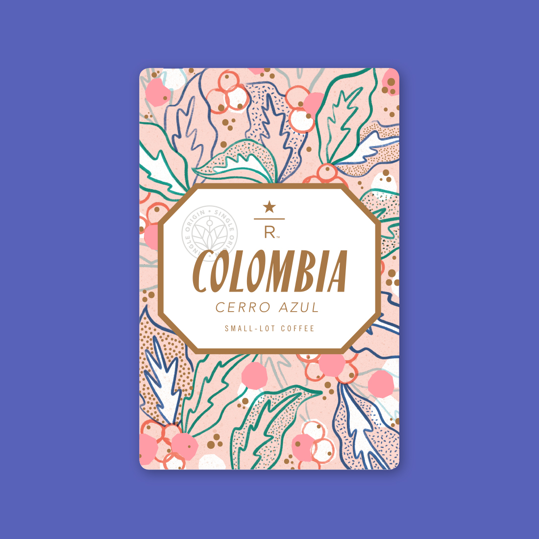Coffee card illustration for COLOMBIA CERRO AZUL