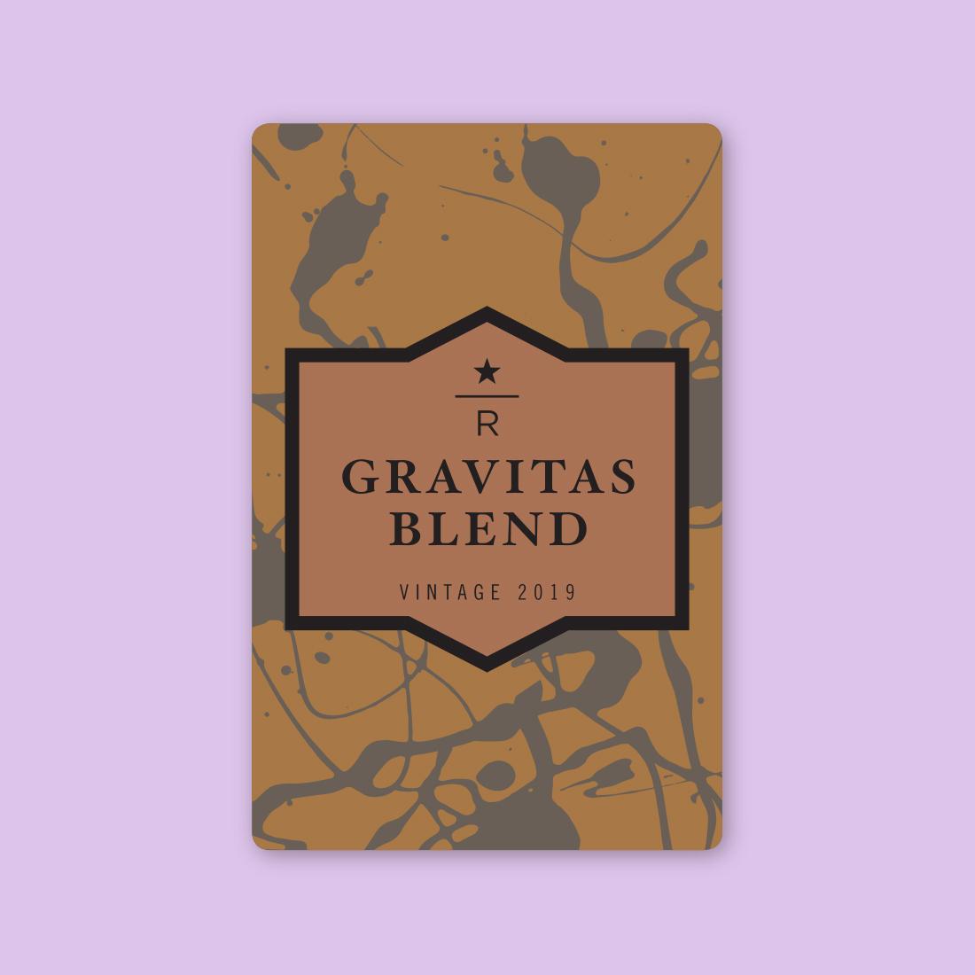 Coffee card illustration for GRAVITAS BLEND VINTAGE 2019