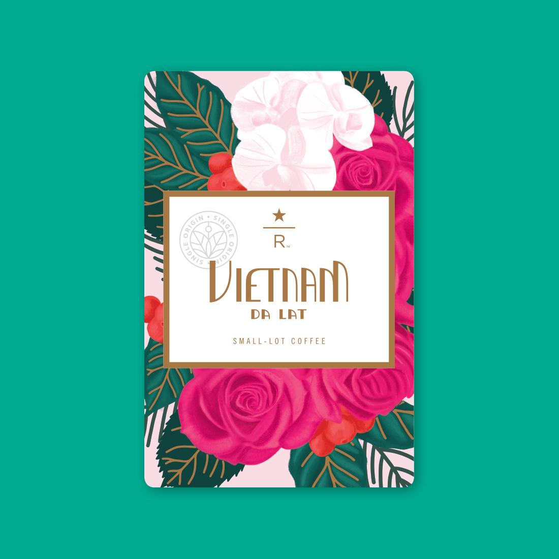 Coffee card illustration for VIETNAM DA LAT